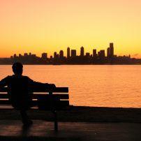 Park Bench, Cityscape, West Seattle, Seattle, Washington, USA