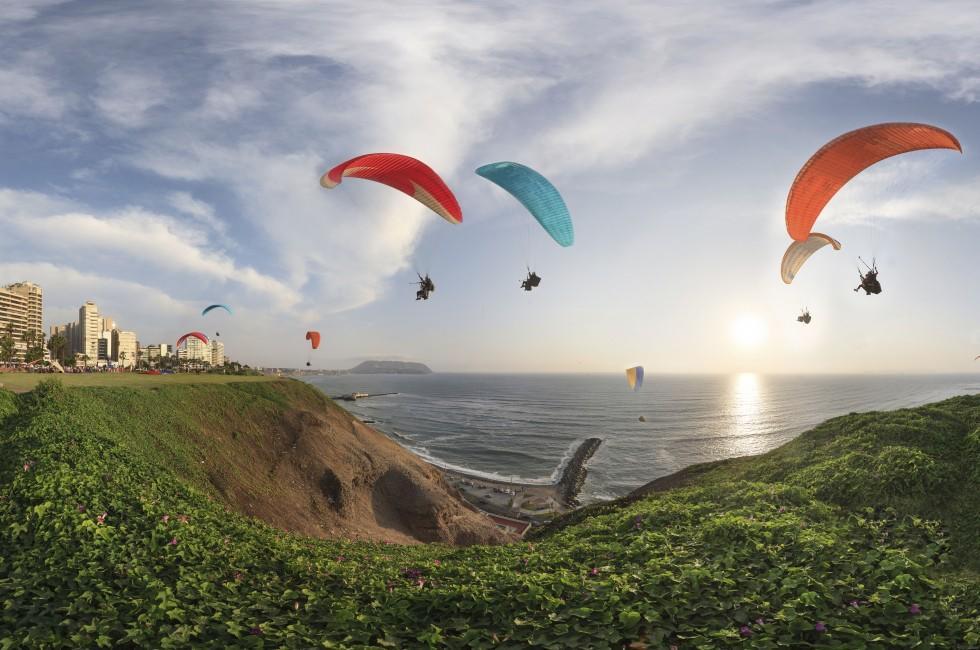 Paragliding, Miraflores, Coastline, Miraflores, Lima, Peru