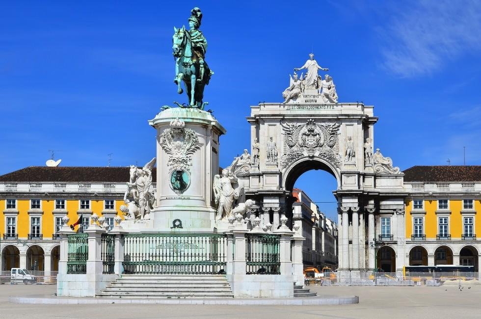 Statue, Commerce Square, Lisbon, Portugal
