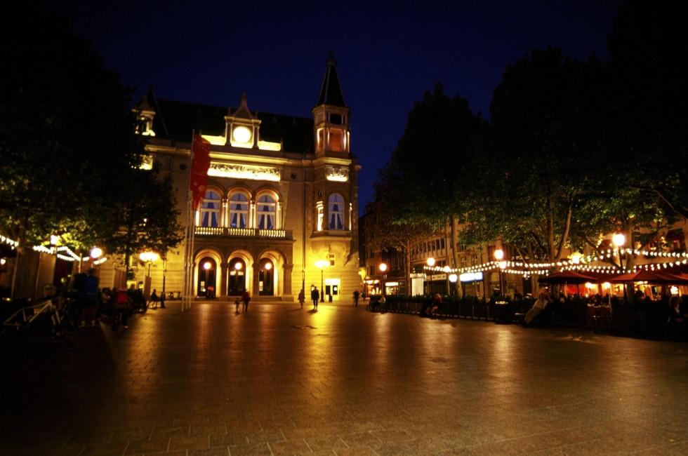City of Luxembourg, Luxembourg; evening; public square; cobblestone; lights; landmark; cafe; people; sophistacated; ornate