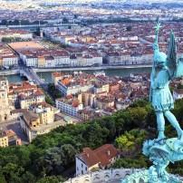Aerial, Notre Dame de Fourviere, Statue, Cathedral, Bridge, Rhone River, Cityscape, Lyon, France