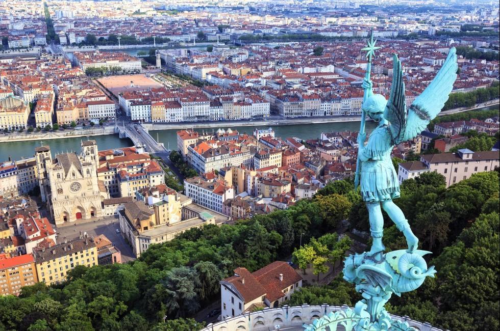 Aerial, Notre Dame de Fourviere, Statue, Cathedral, Bridge, Rhone River, Cityscape, Lyon, France