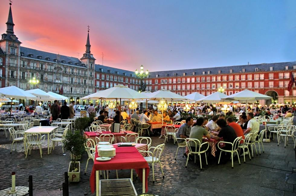 Tables, Plaza Mayor, Madrid, Spain