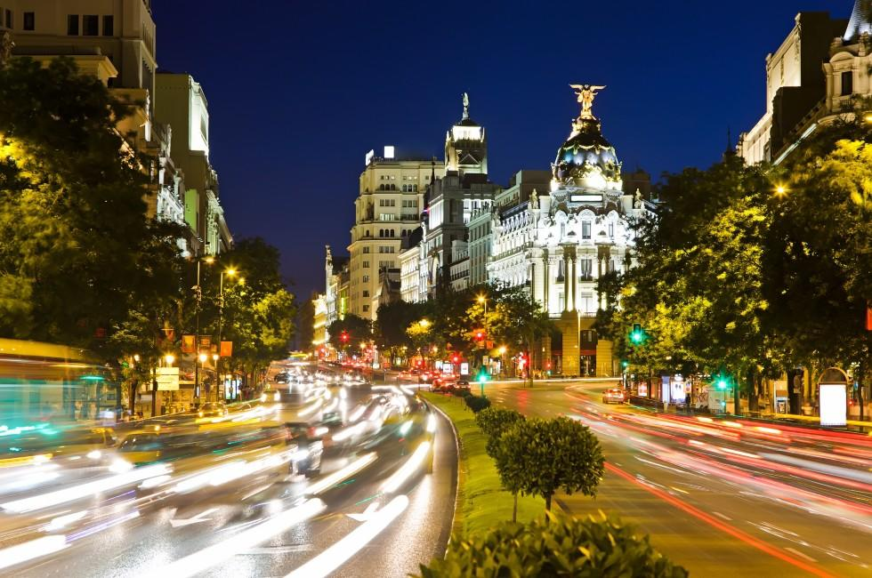 Traffic, Downtown, Madrid, Spain