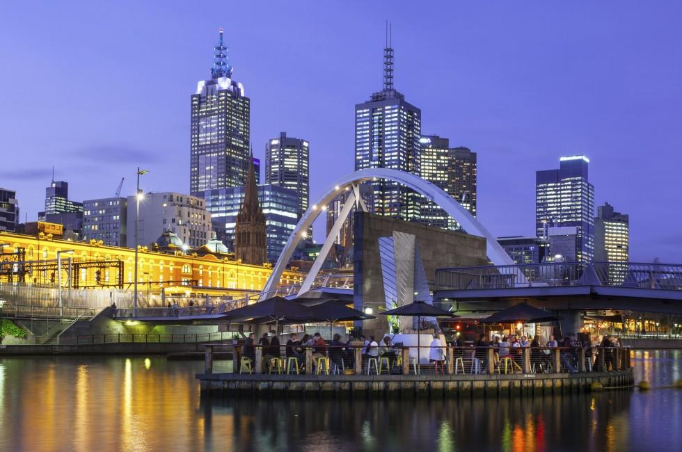 Restaurant, Harbor, Skyline, Melbourne, Australia