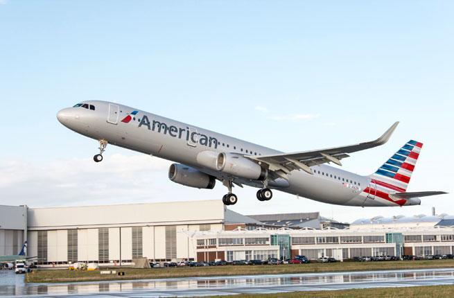 American flight on takeoff