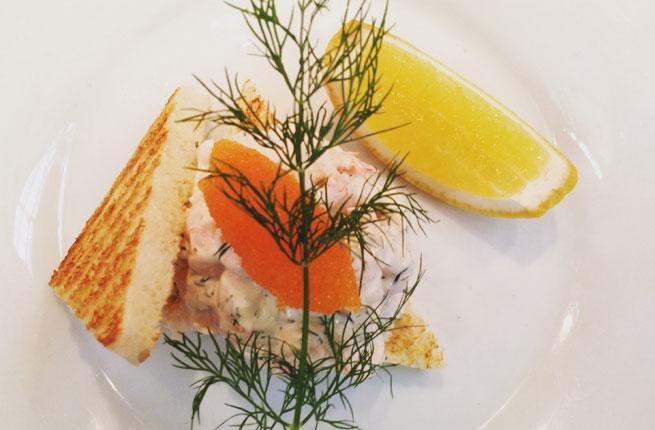 Skagen's shrimp-topped toast with dill and fish roe
