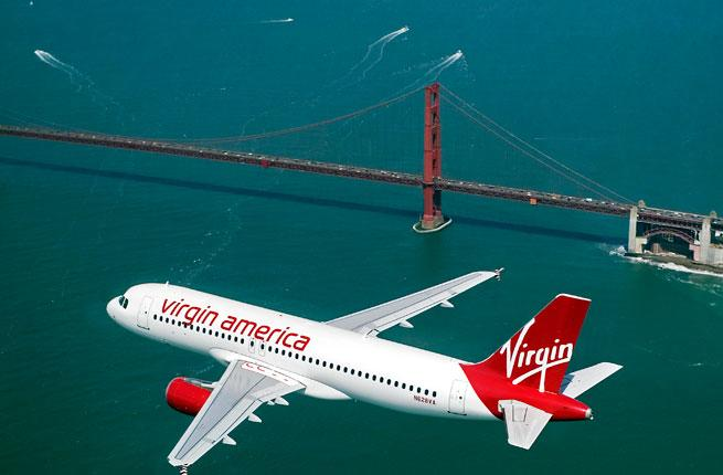 Virgin Plane flying over the Golden Gate Bridge