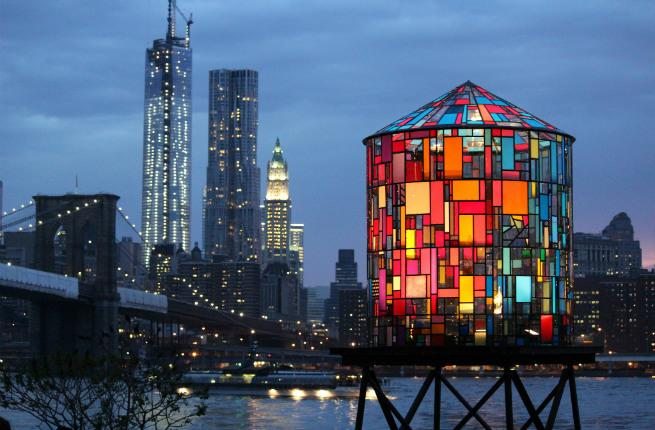 Tom Fruin's plexiglass and steel watertowers