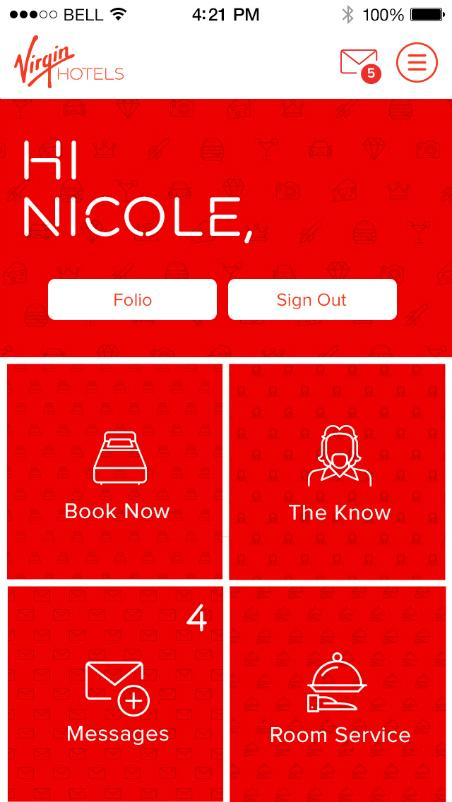 Virgin Hotels mobile app
