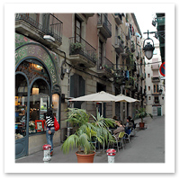 Cafe off of the Ramblas in Barcelona