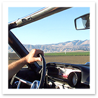 Driving Route 66 in a convertible