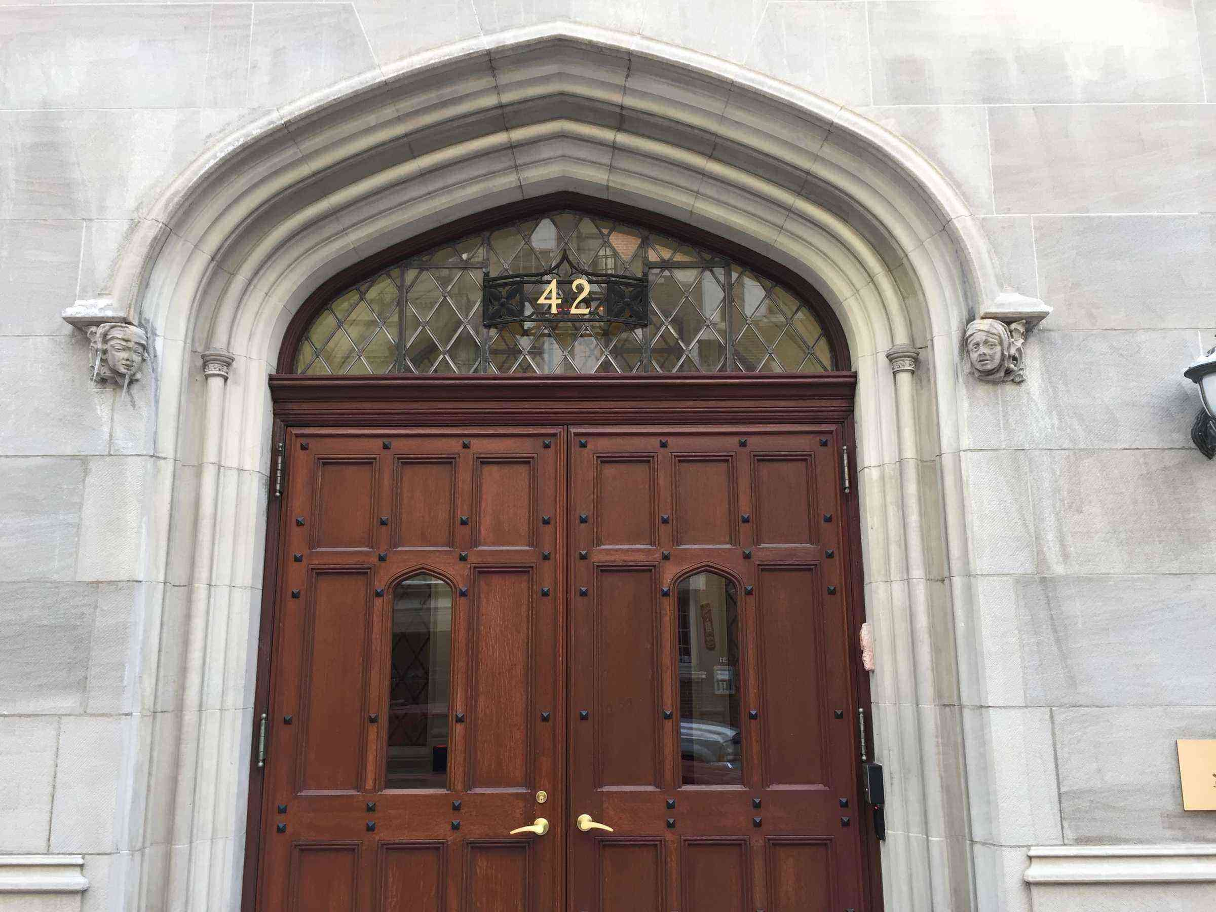 7) Jewish National Fund doorway, flanked by gargoyles