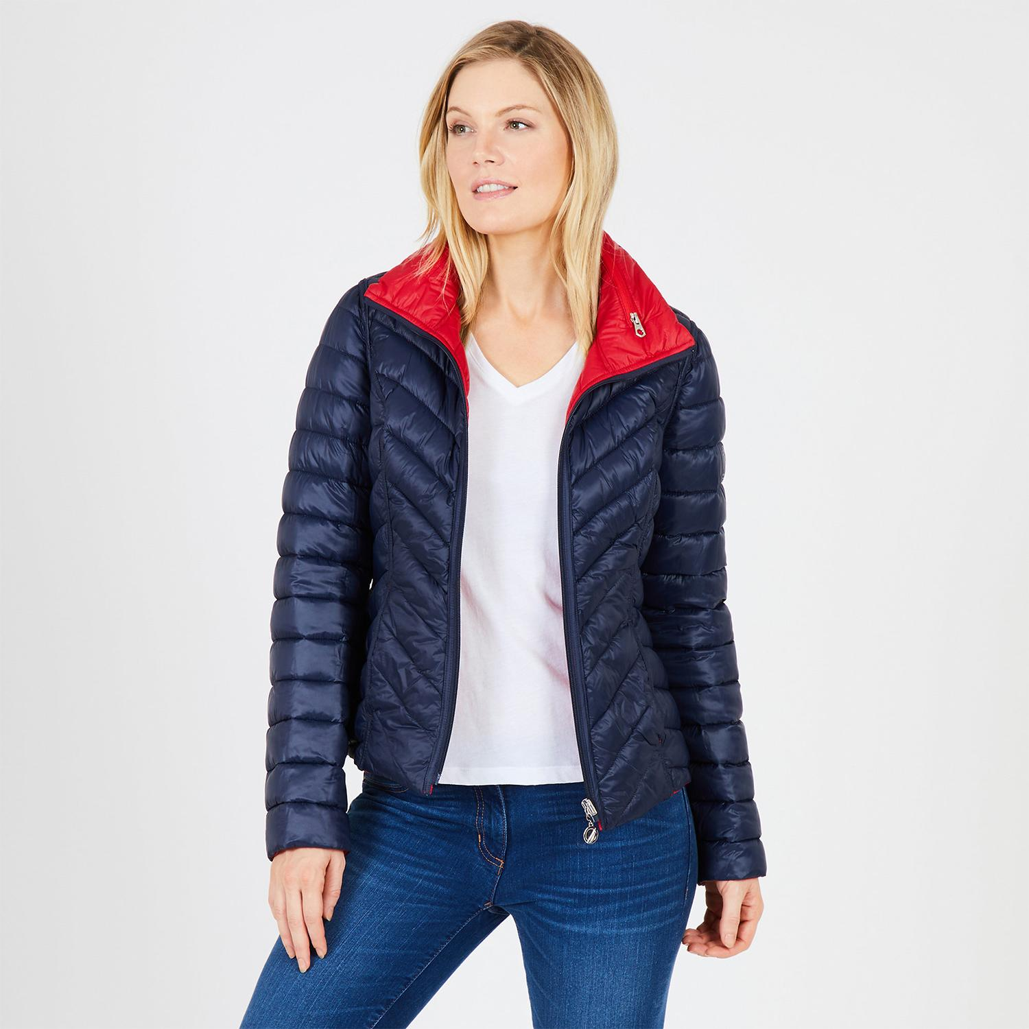 2f20d1cf7ca Nautica Hooded Contrast-Trim Packable Puffer Coat. What this women's jacket  ...