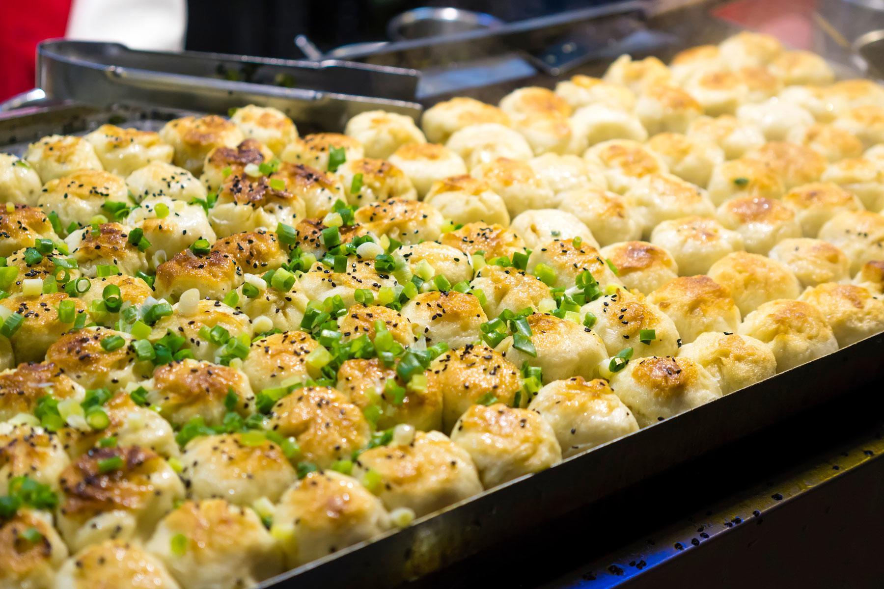 Pan fried pork dumplings.
