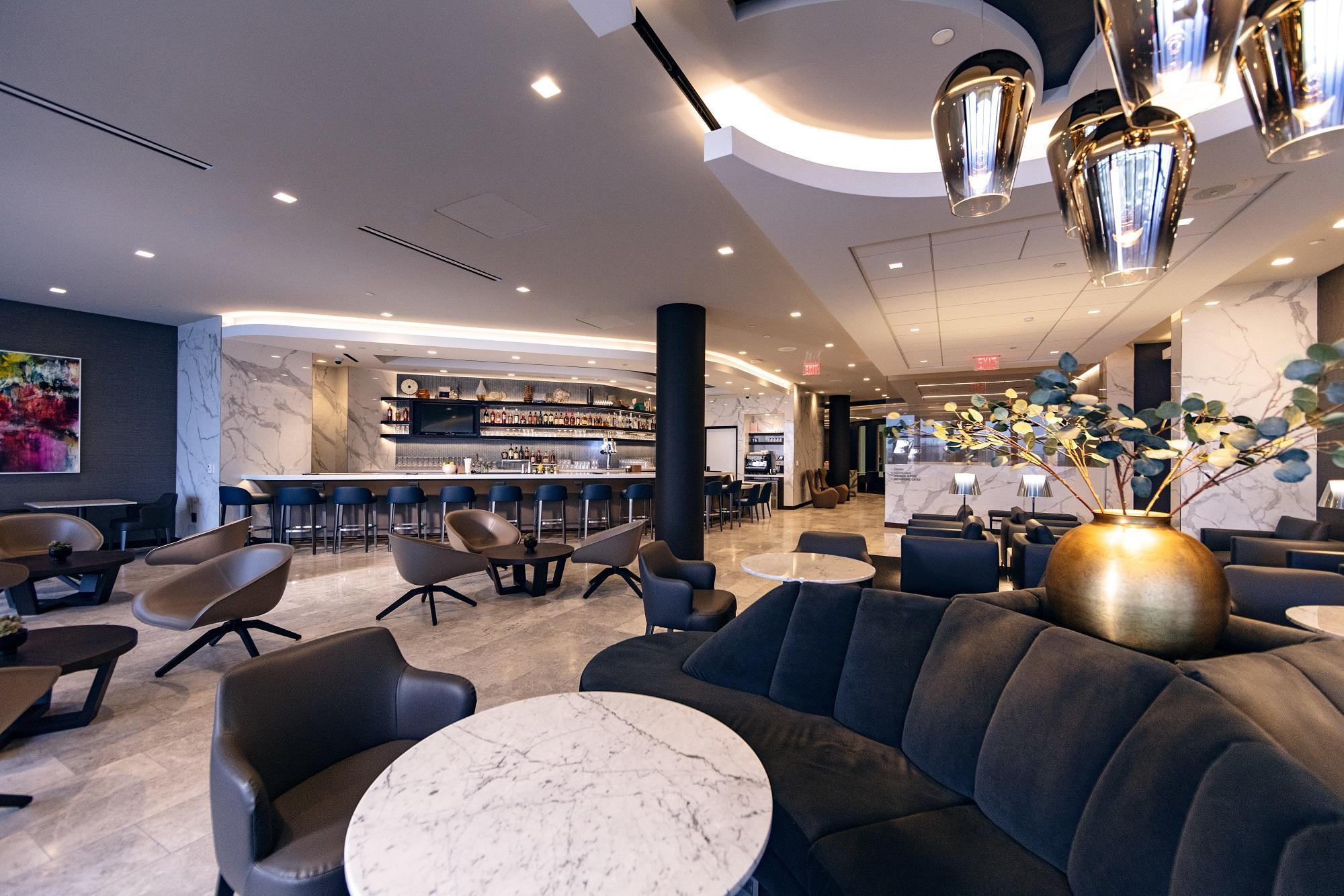 United Polaris lounge seating area at LAX