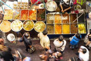 Aerial View of Street Food Scene