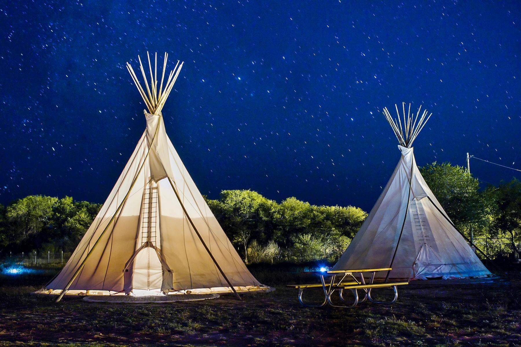 14_AdevnturousBabymoons__SeetheMarfaLights_14.) El Cosmico - Teepee at Night - Nick Simonite