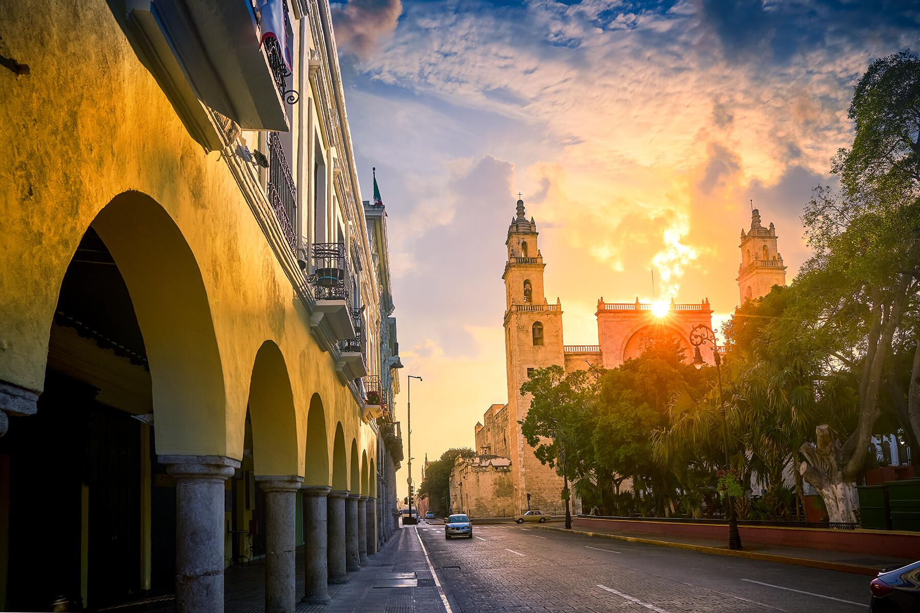 centro histórico de Mérida al amanecer