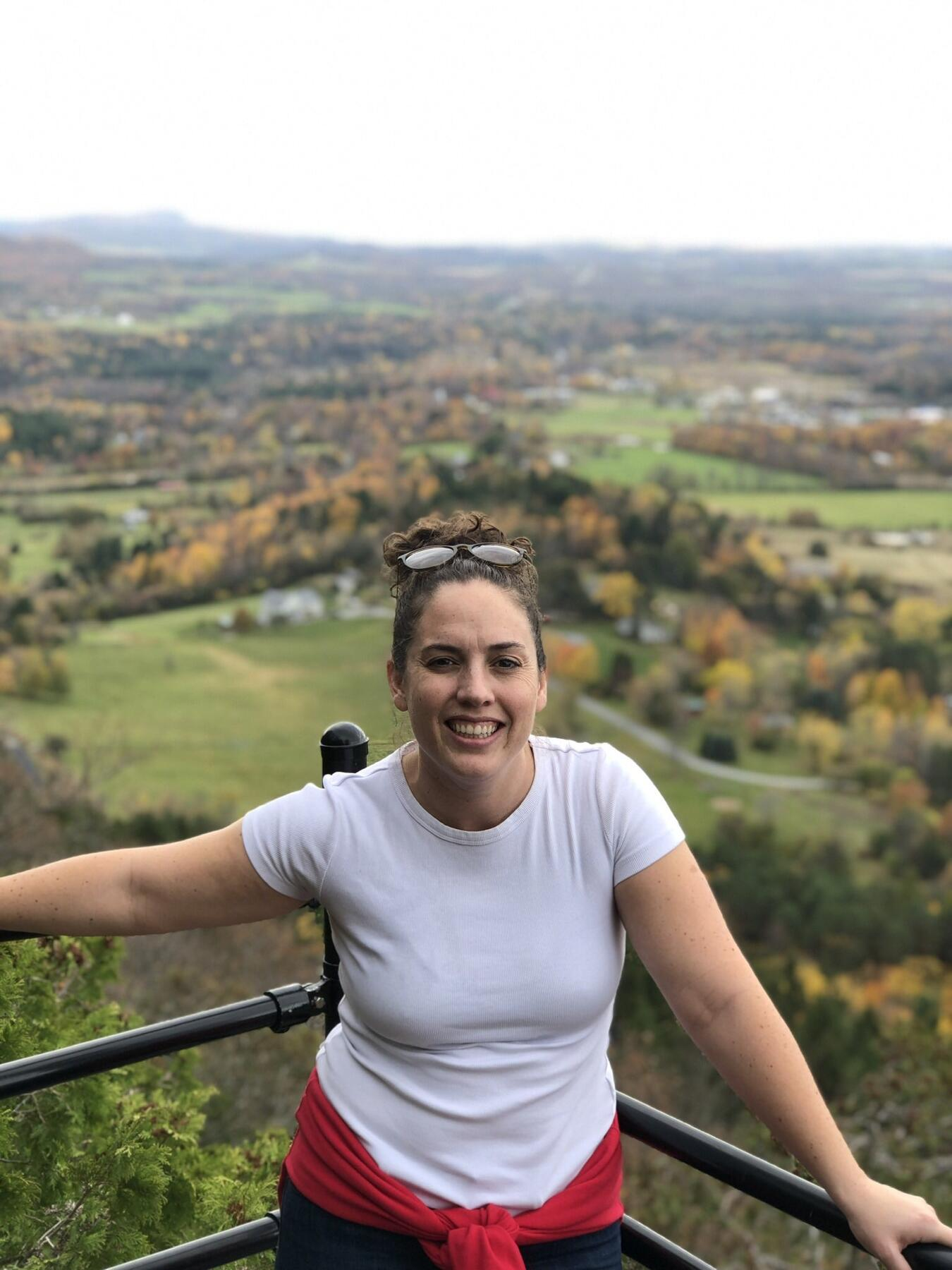 Caitlin Peluffo hiking in Vermont after shows